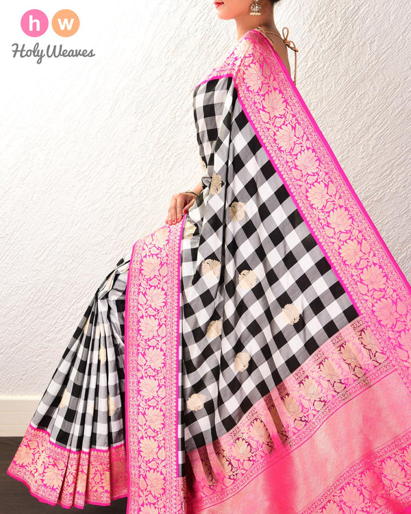 Black & White Banarasi Chequred Buta Kadhuan Brocade Handwoven Katan Silk Saree with Pink Kadiyal Brocade Border - HolyWeaves
