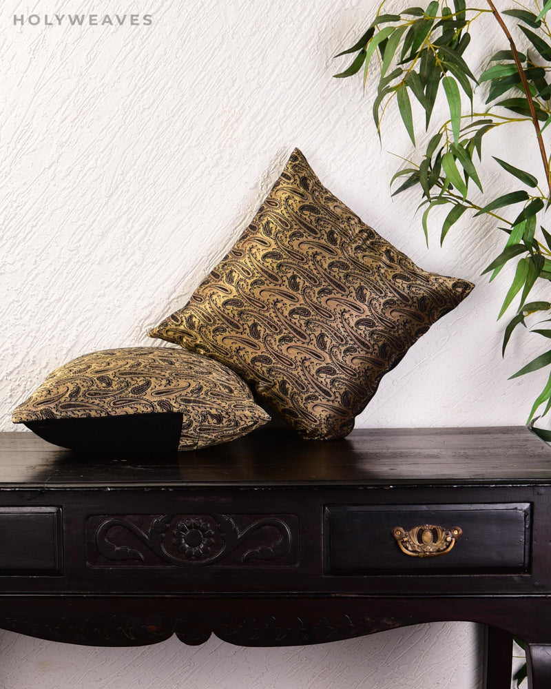 Black Banarasi Tanchoi Poly Silk Cushion Cover 16""