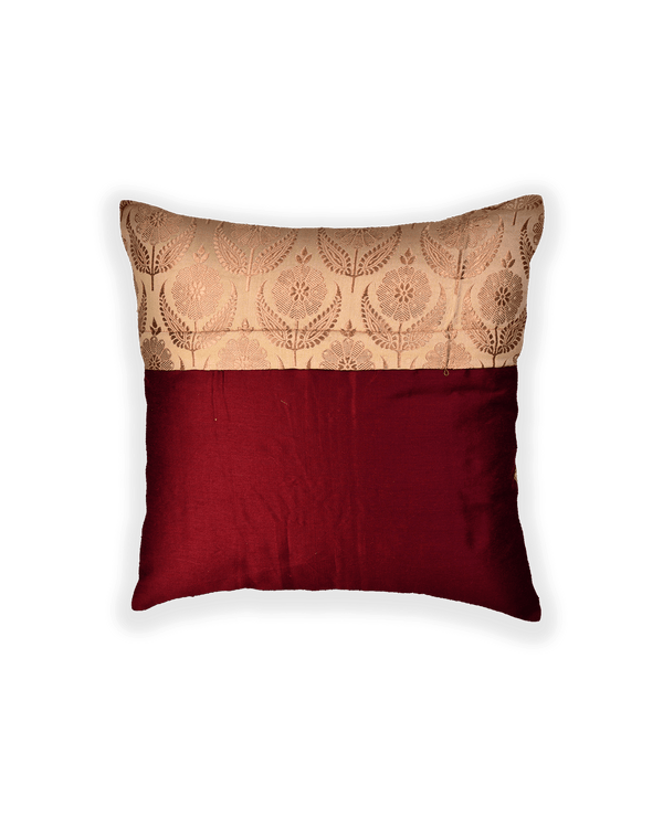 Beige Banarasi Brocade Poly Silk Cushion Cover 16""