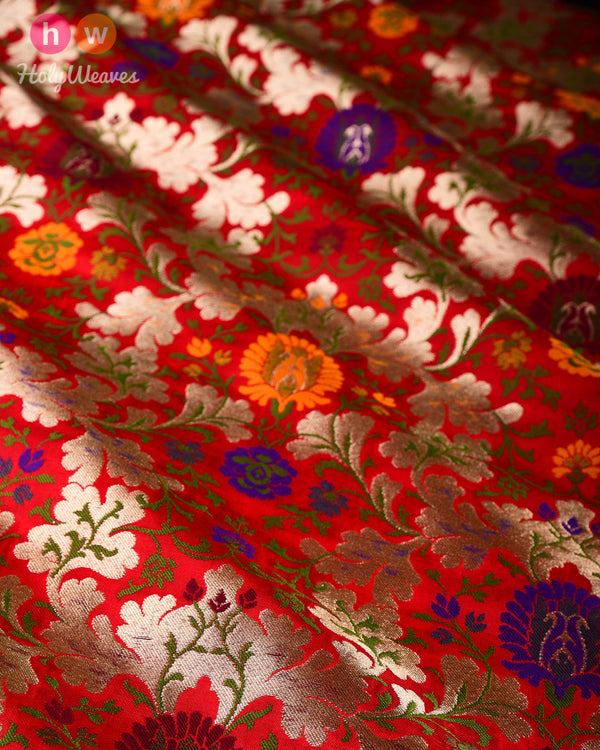 Red Banarasi Chauhara Jaal Kimkhwab Brocade Handwoven Viscose Silk Fabric - HolyWeaves