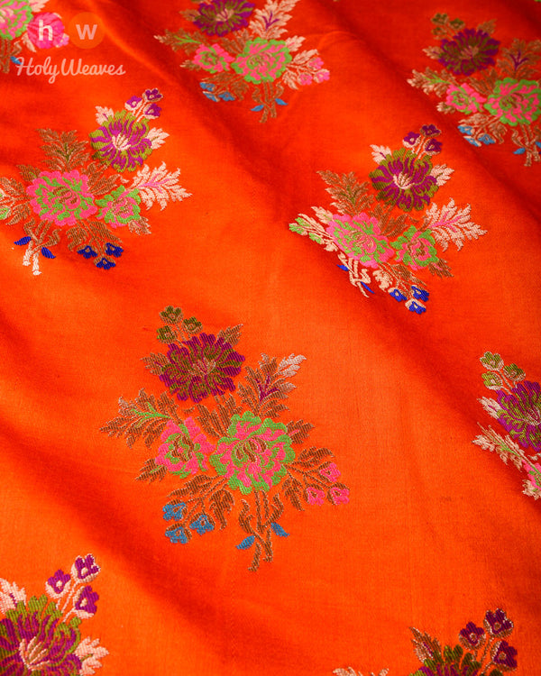 Orange Banarasi Chauhara Buta Kimkhwab Brocade Handwoven Viscose Silk Fabric