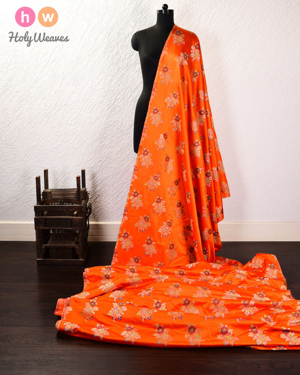Orange Banarasi Chauhara Buta Kimkhwab Brocade Handwoven Viscose Silk Fabric - HolyWeaves