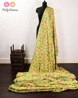 Lime Green Banarasi Meenedar Jaal Cutwork Brocade Handwoven Art Silk Fabric