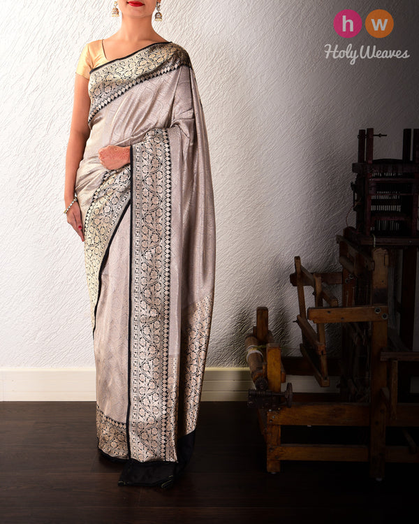 Stone Gray Banarasi Alfi Brocade Handwoven Katan Silk Saree with Black Kadiyal Border - HolyWeaves