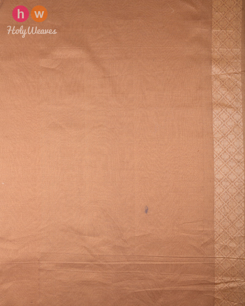 Golden Beige Banarasi Leheriya Buti Alfi Sona Rupa Cutwork Brocade Handwoven Cotton Tissue Saree - HolyWeaves