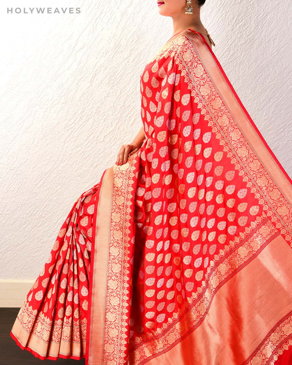 Red Banarasi Buti 3-Yarn Kadhuan Brocade Handwoven Katan Silk Saree