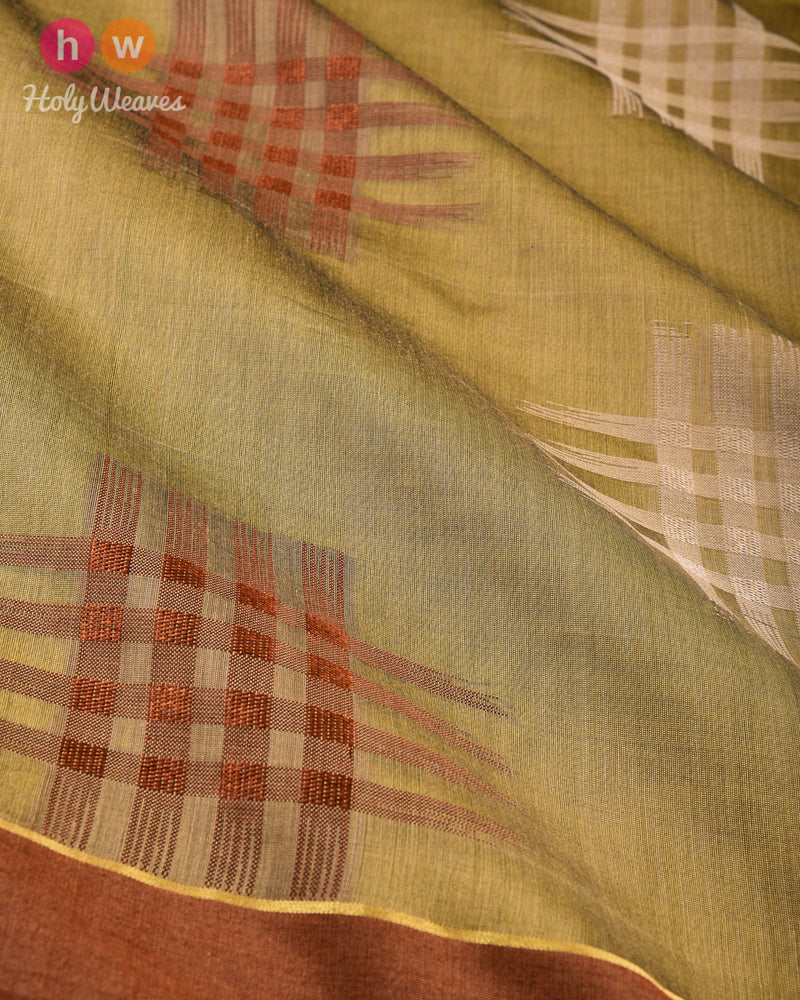 Green Chequered grid Cutwork Brocade Woven Cotton Silk Saree