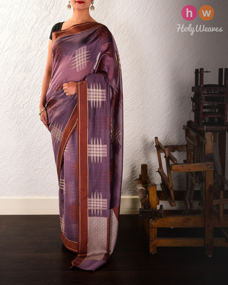 French Lilac Chequered grid Cutwork Brocade Woven Cotton Silk Saree - HolyWeaves