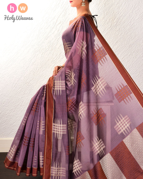 French Lilac Chequered grid Cutwork Brocade Woven Cotton Silk Saree