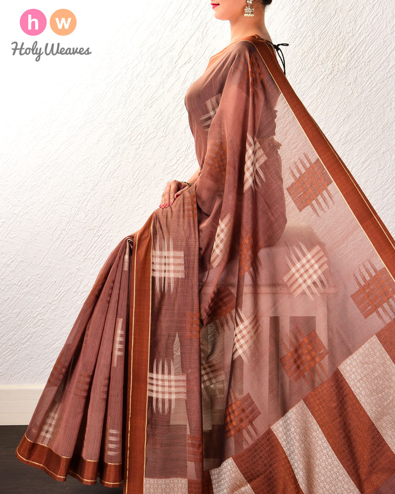 Brown Chequered grid Cutwork Brocade Woven Cotton Silk Saree