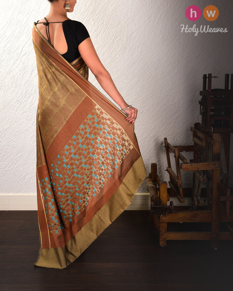 Olive Green Geometric Cutwork Brocade Woven Cotton Silk Saree