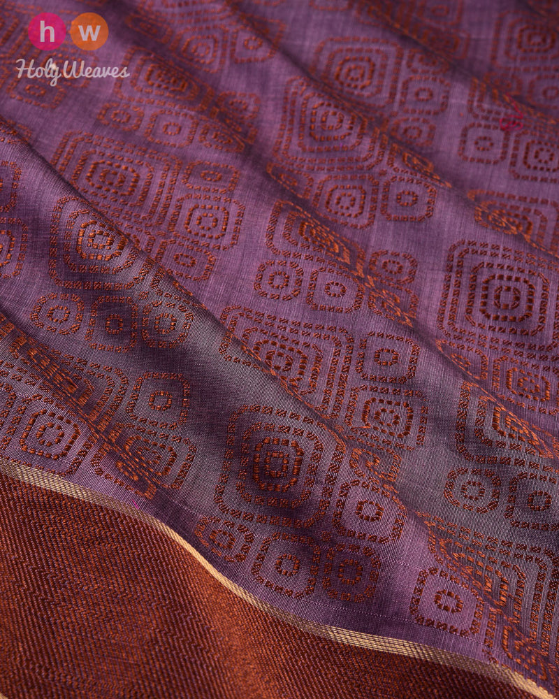 French Lilac Geometric Cutwork Brocade Woven Cotton Silk Saree - HolyWeaves