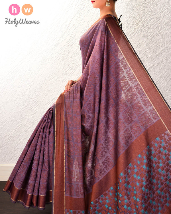 French Lilac Geometric Cutwork Brocade Woven Cotton Silk Saree