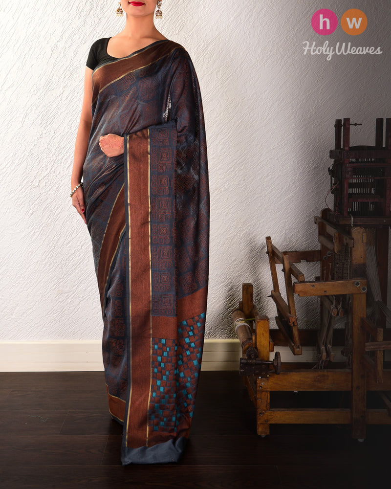 Gray Geometric Cutwork Brocade Woven Cotton Silk Saree - HolyWeaves