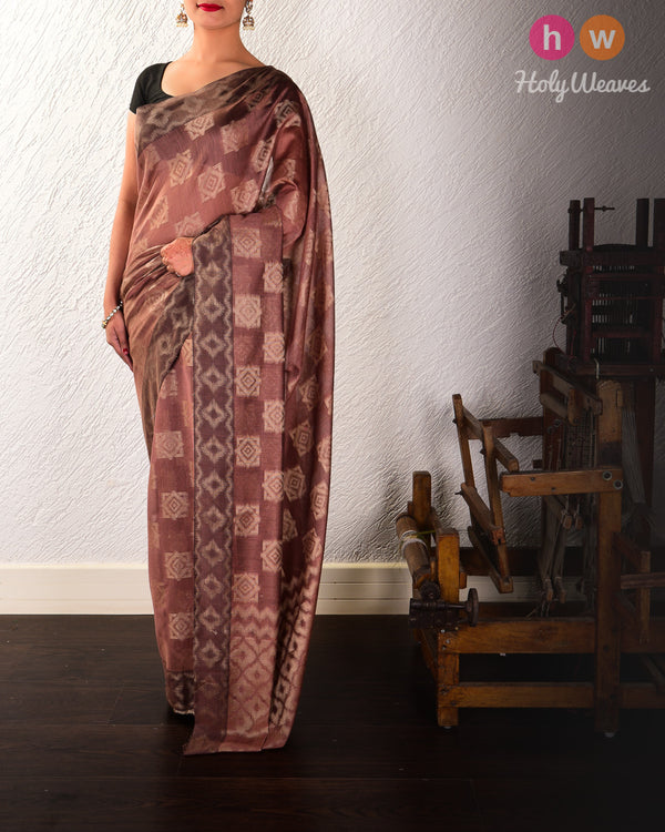 Brown Geometric Cutwork Brocade Woven Cotton Silk Saree