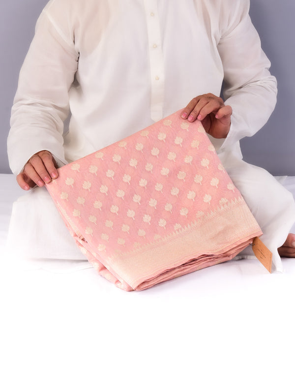 Peach Banarasi Antique Buti Cutwork Brocade Handwoven Cotton Tissue Saree - HolyWeaves