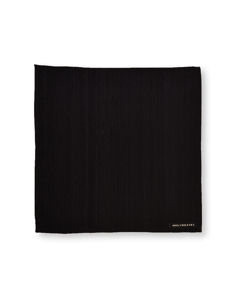 Black Brocade Handwoven Pure Raw Silk Pocket Square For Men - HolyWeaves
