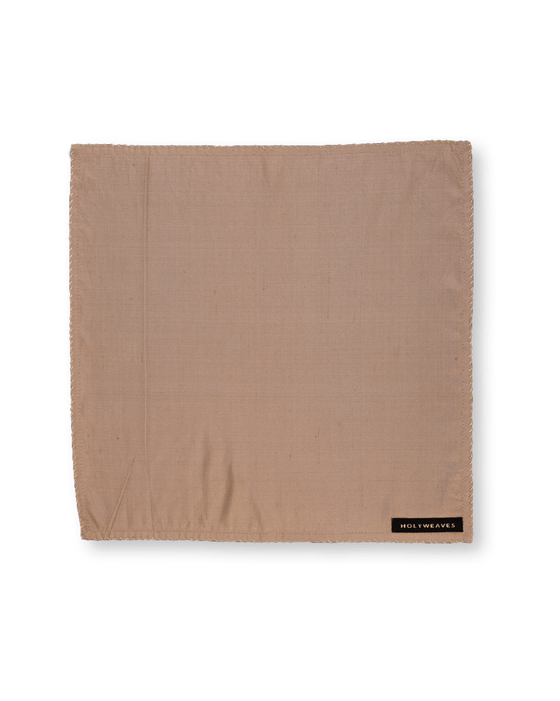 Beige Handwoven Pure Dupion Silk Pocket Square For Men - HolyWeaves