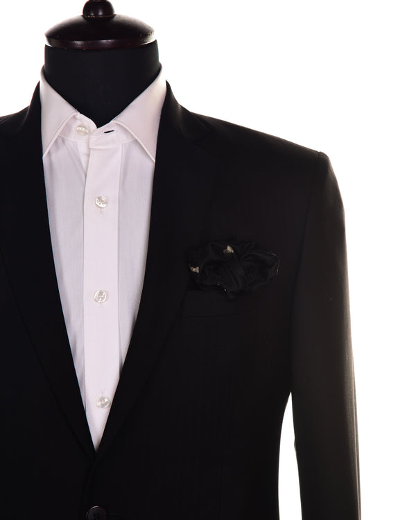 Black Tanchoi with Zari Accents Handwoven Pure Silk Pocket Square For Men - HolyWeaves