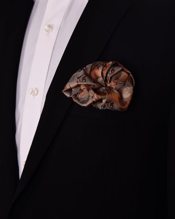 Brown Tanchoi Brocade with Gold & Copper Zari Accents Handwoven Pure Silk Pocket Square For Men - HolyWeaves