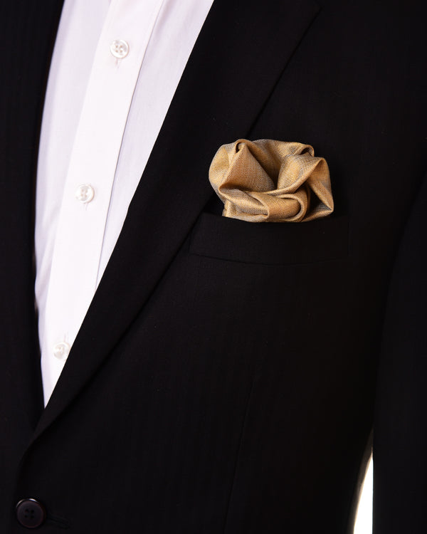 Beige Handwoven Pure Silk Tissue Pocket Square For Men - HolyWeaves