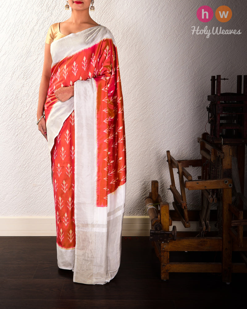 Magenta Pochampalli Ikat Handwoven Silk Saree with White Tissue Border Pallu