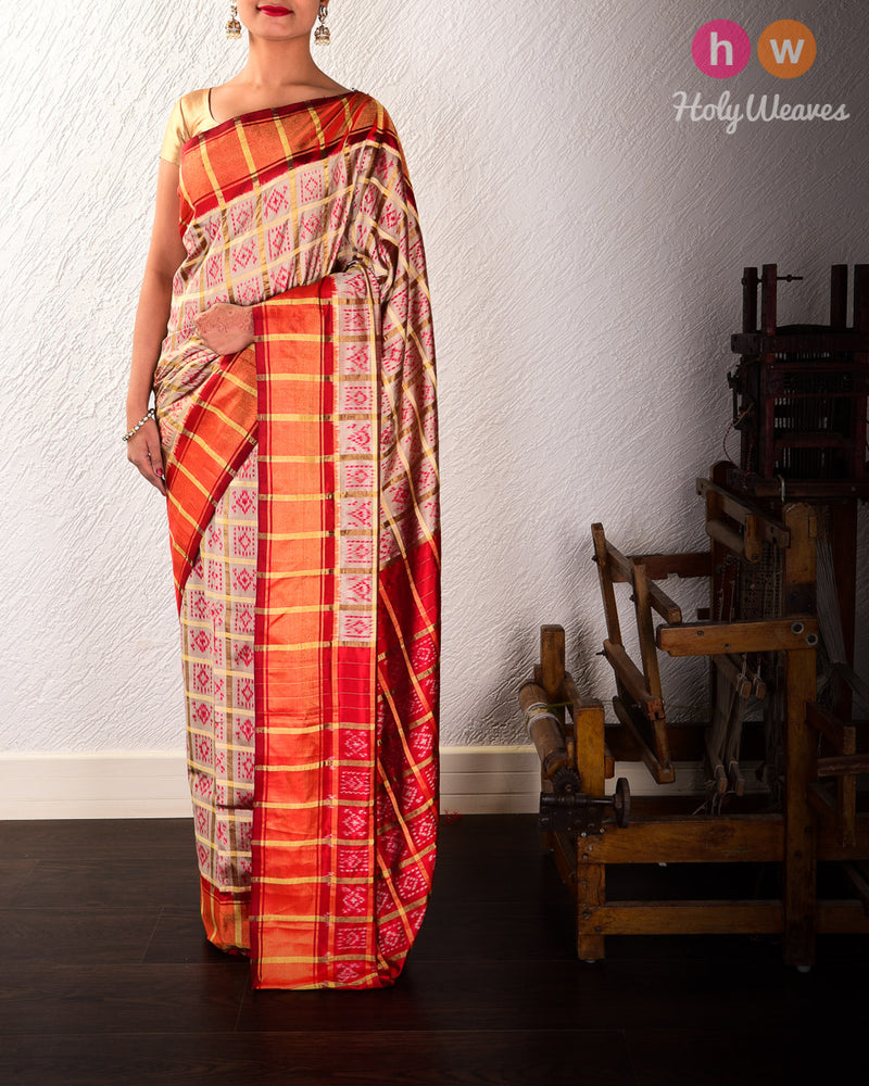Khaki Beige Pochampalli Gharchola Ikat Handwoven Silk Saree with Red Contrast Border Pallu - HolyWeaves