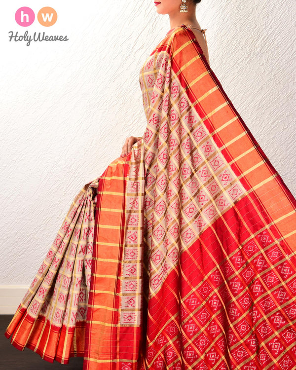 Khaki Beige Pochampalli Gharchola Ikat Handwoven Silk Saree with Red Contrast Border Pallu