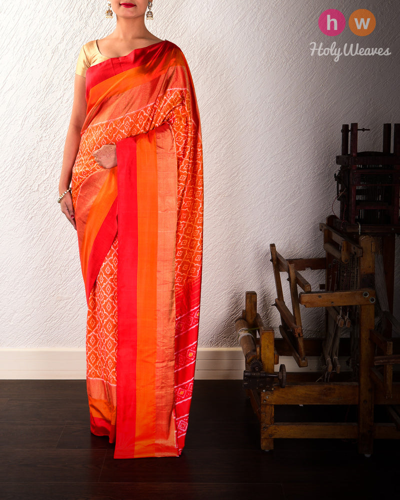Red-Orange Pochampalli Moroccon Grid Ikat Handwoven Silk Saree - HolyWeaves