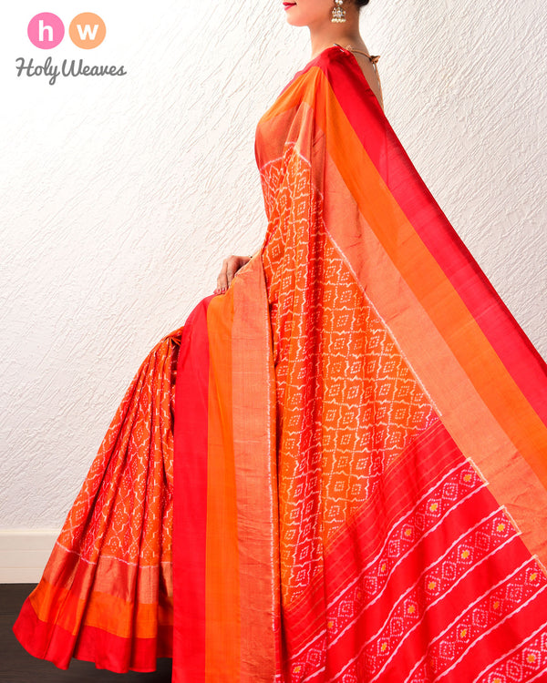 Red-Orange Pochampalli Moroccon Grid Ikat Handwoven Silk Saree