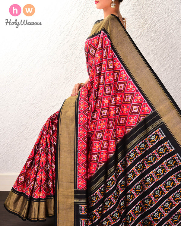 Red Pochampalli Traditional Ikat Handwoven Silk Saree