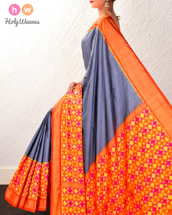 Gray Pochampalli Ikat Handwoven Silk Saree with Multi-color Ikat Border Pallu & Blouse - HolyWeaves