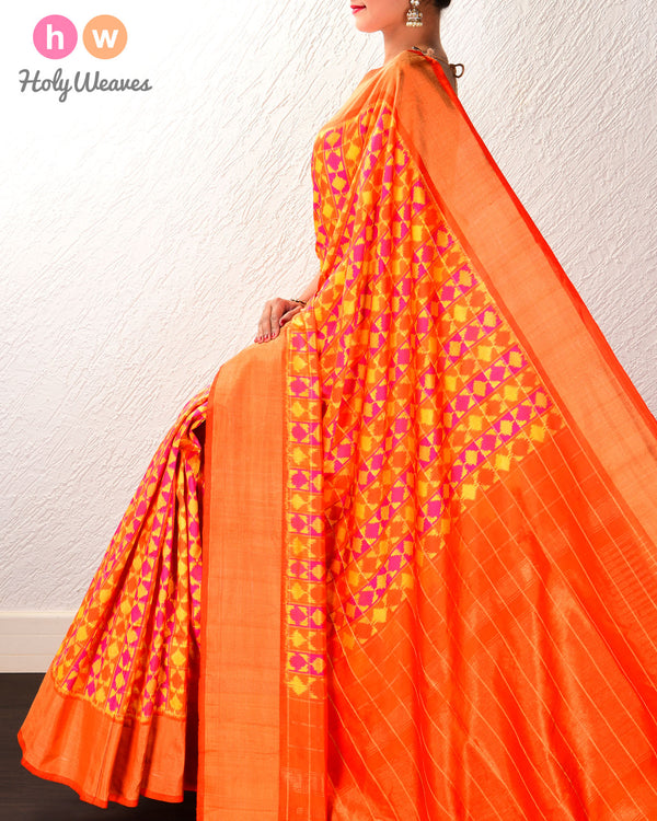 Orange Pochampalli Multi-color Ikat Handwoven Silk Saree - HolyWeaves