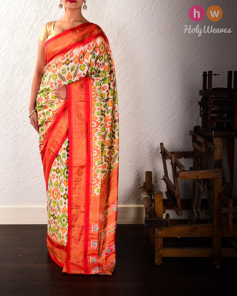 Cream Pochampalli Paan Ikat Handwoven Silk Tissue Saree with Red Contrast Border Pallu - HolyWeaves