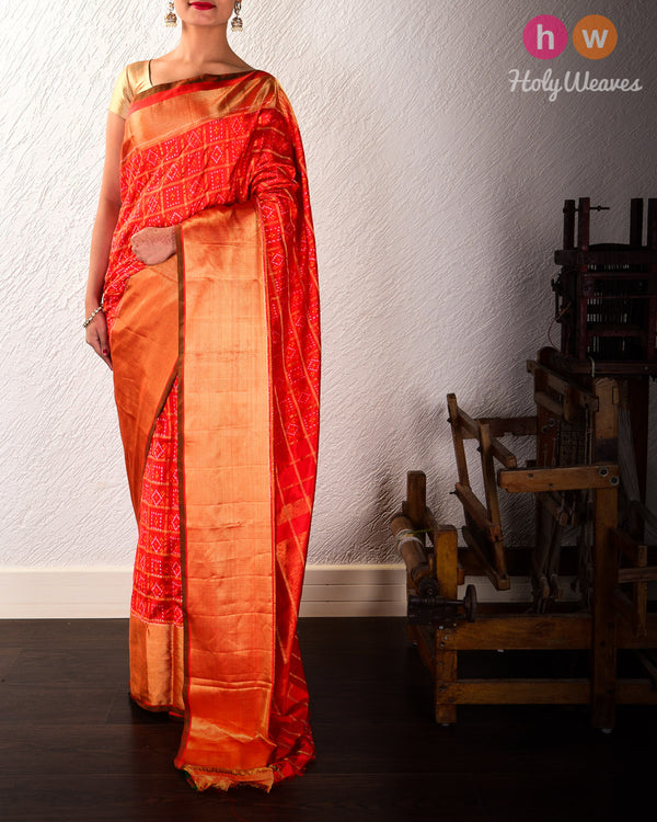 Red Pochampalli Gharchola Ikat Handwoven Silk Saree with Brocade Border Pallu - HolyWeaves