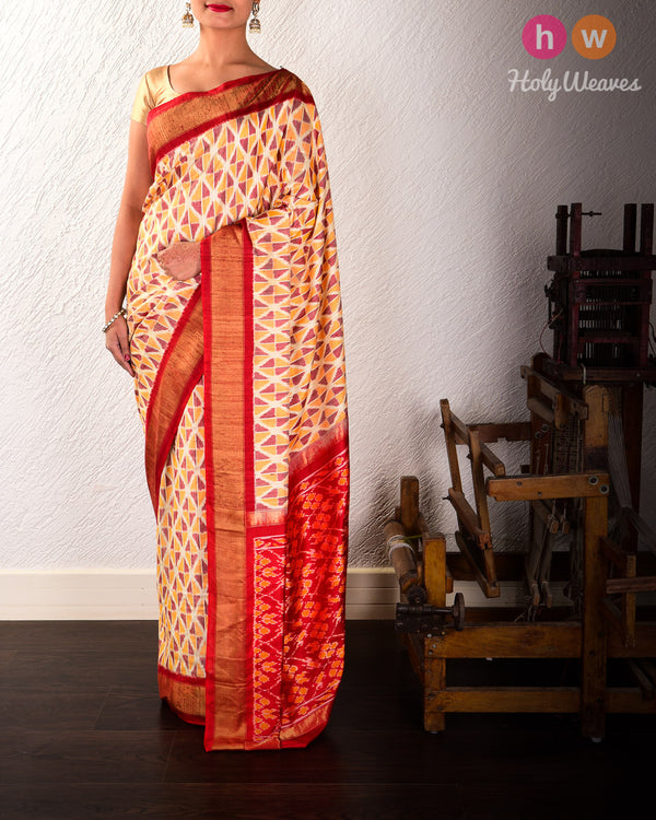 Cream Pochampalli Geometric Ikat Handwoven Raw Silk Saree with Red Contrast Border Pallu