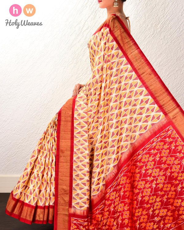 Cream Pochampalli Geometric Ikat Handwoven Raw Silk Saree with Red Contrast Border Pallu - HolyWeaves