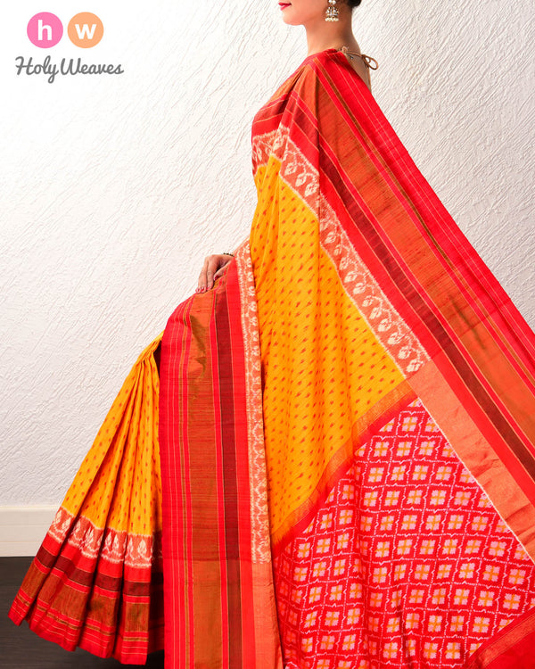 Yellow Pochampalli Raindrop Ikat Handwoven Raw Silk Saree with Red Contrast Border Pallu - HolyWeaves