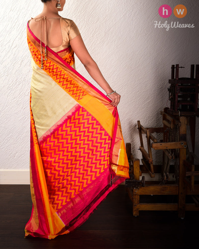 Beige Pochampalli Ikat Handwoven Raw Silk Saree with Ikat Border Pallu - HolyWeaves