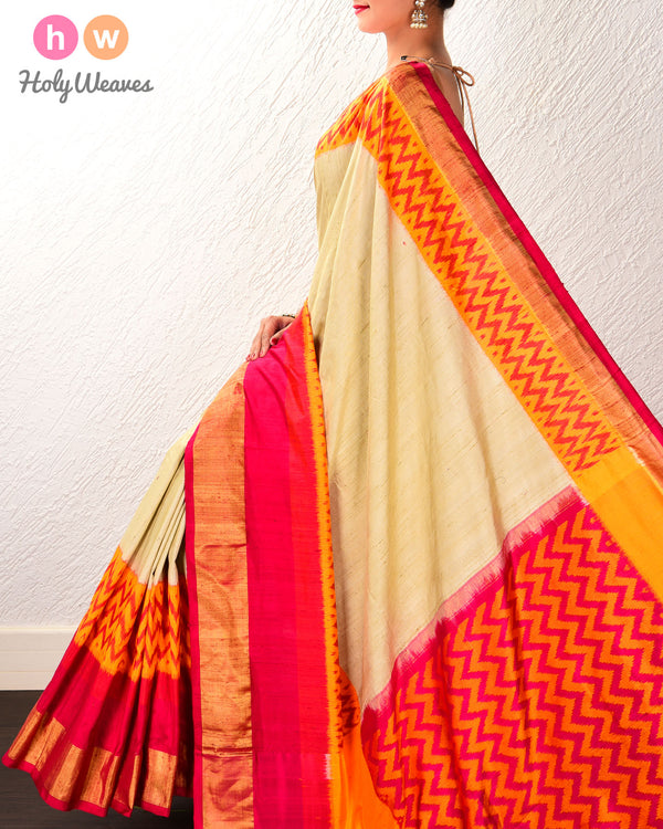Beige Pochampalli Ikat Handwoven Raw Silk Saree with Ikat Border Pallu