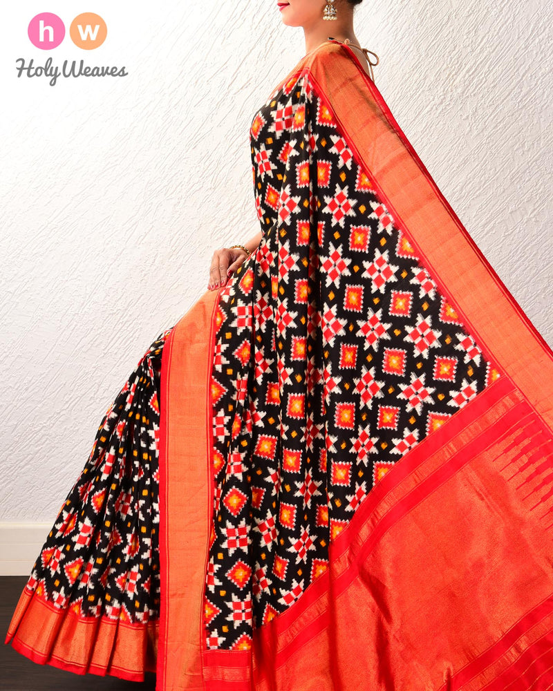 Black Pochampalli Chaupad Double Ikat Handwoven Silk Saree with Red Contrast Border Pallu - HolyWeaves