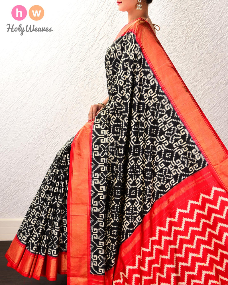 Black Pochampalli Labyrinth Double Ikat Handwoven Silk Saree with Red Contrast Border Pallu