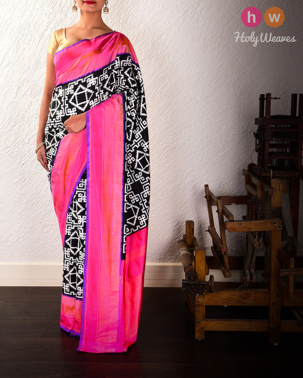 Black Pochampalli Maze Double Ikat Handwoven Silk Saree with Pink Border Pallu