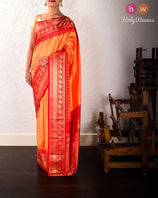 Orange Pochampalli Ikat Handwoven Silk Saree with Kanjivaram Border Pallu - HolyWeaves