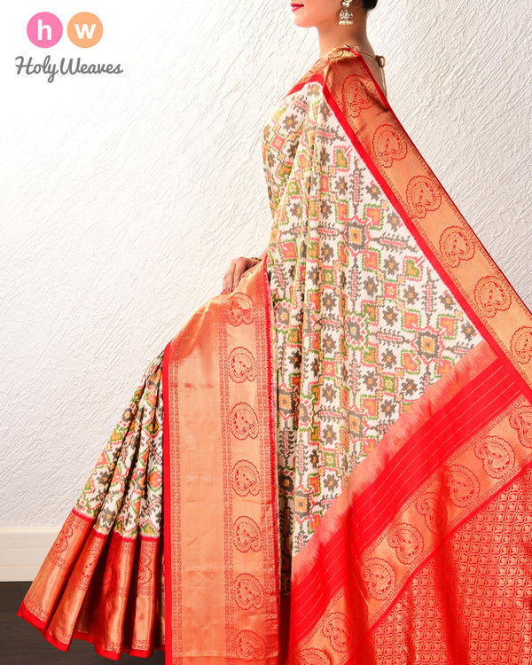 Cream Pochampalli Traditional Ikat Handwoven Silk Saree with Kanjivaram Border Pallu