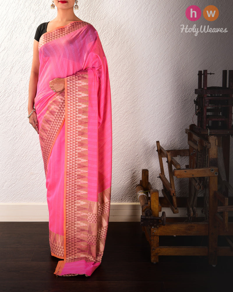 Pink Cutwork Brocade Woven Cotton Silk Saree - HolyWeaves