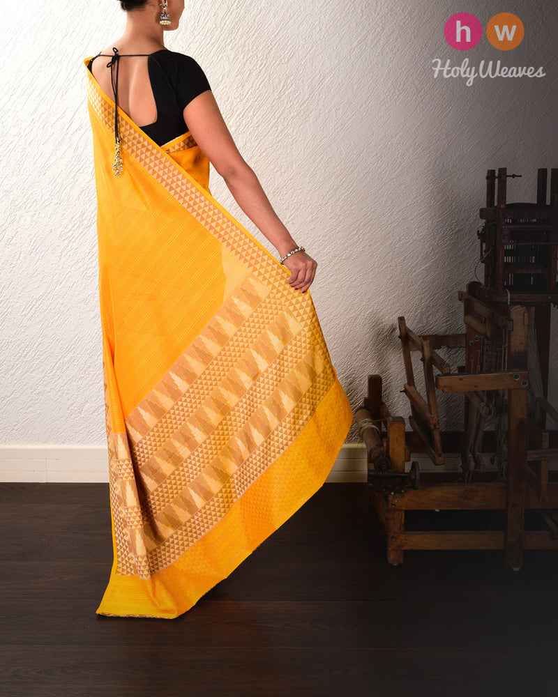 Yellow Cutwork Brocade Woven Cotton Silk Saree