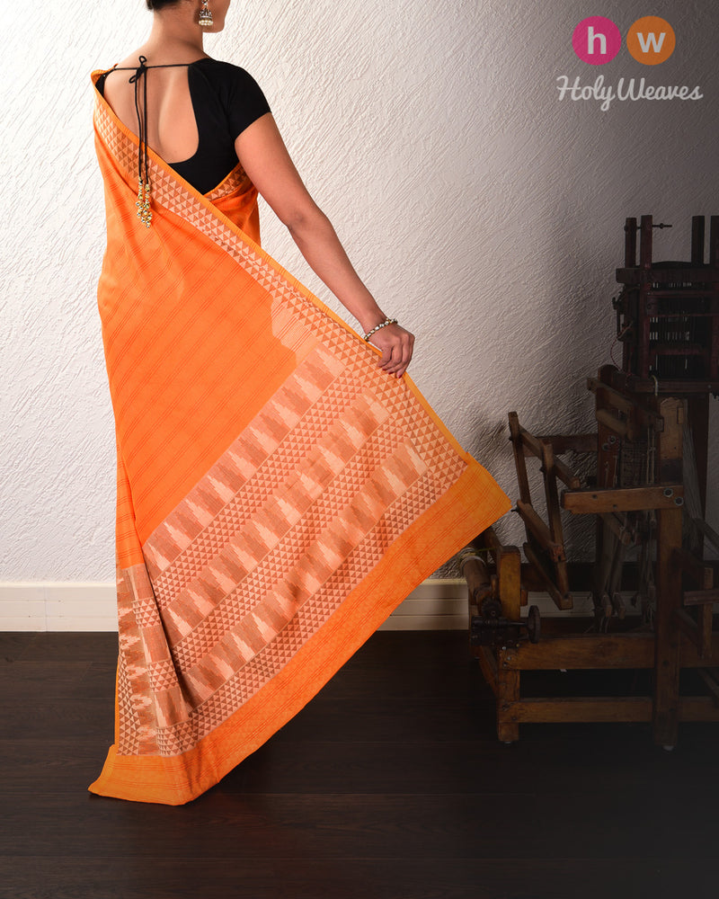 Orange Cutwork Brocade Woven Cotton Silk Saree - HolyWeaves
