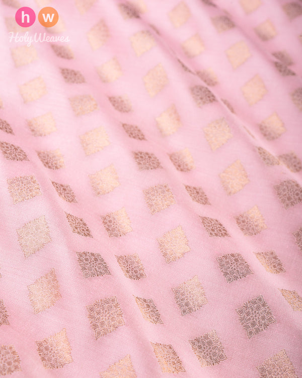 Baby Pink Banarasi Cutwork Brocade Handwoven Silk Fabric - HolyWeaves