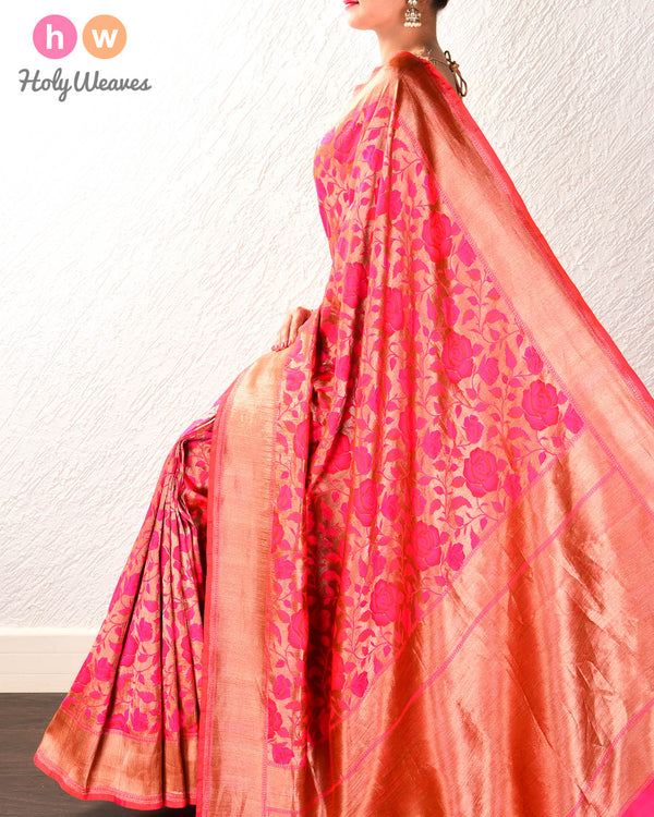 Ruby Pink Banarasi Antique Gulab Jaal Cutwork Brocade Handwoven Katan Silk Saree - HolyWeaves